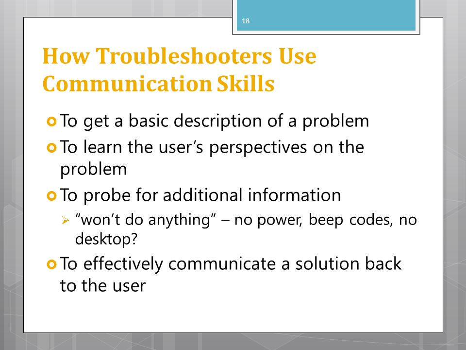 How Troubleshooters Use Communication Skills To get a basic description of a problem To learn the users perspectives on the problem To probe for addit