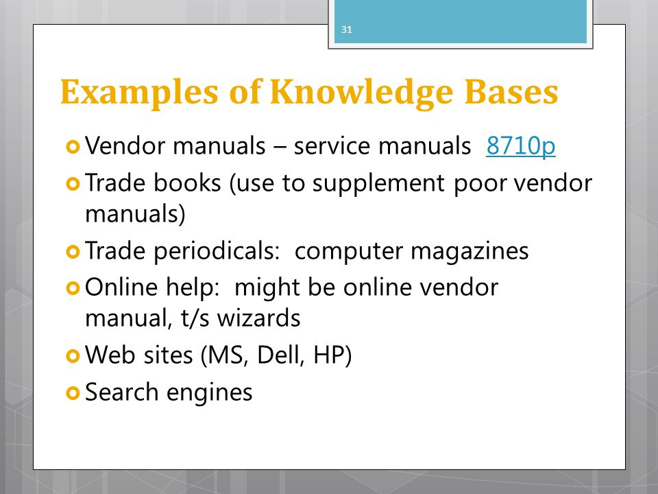 Examples of Knowledge Bases Vendor manuals – service manuals 8710p8710p Trade books (use to supplement poor vendor manuals) Trade periodicals: compute