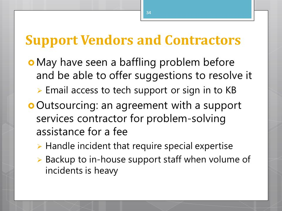 Support Vendors and Contractors May have seen a baffling problem before and be able to offer suggestions to resolve it Email access to tech support or
