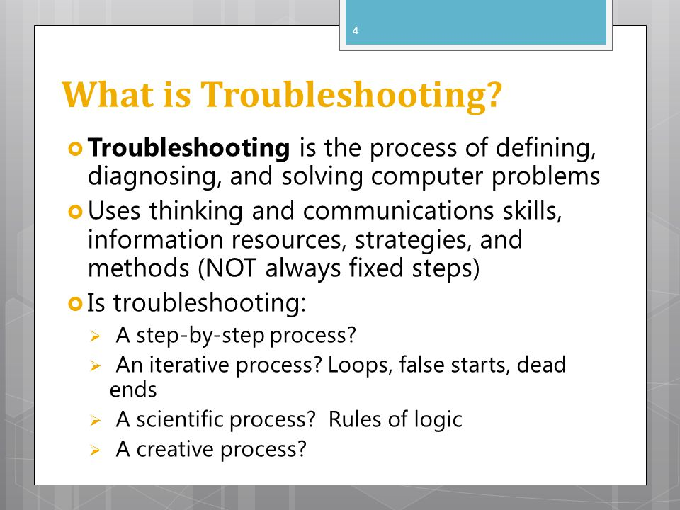 What is Troubleshooting? Troubleshooting is the process of defining, diagnosing, and solving computer problems Uses thinking and communications skills