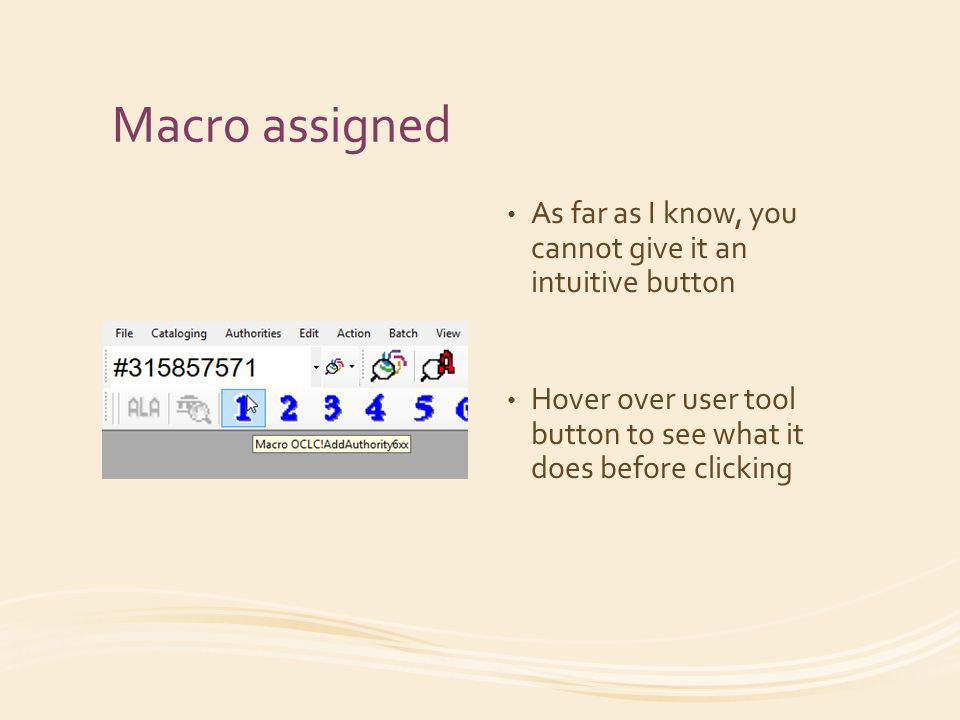 Macro assigned As far as I know, you cannot give it an intuitive button Hover over user tool button to see what it does before clicking