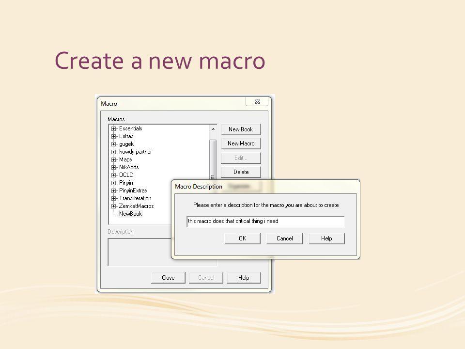 Create a new macro