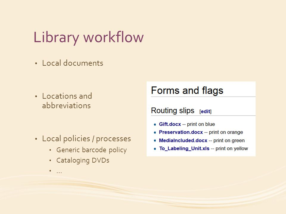 Library workflow Local documents Locations and abbreviations Local policies / processes Generic barcode policy Cataloging DVDs …