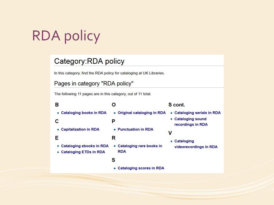 RDA policy