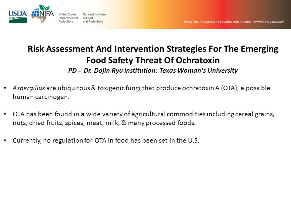 Risk Assessment And Intervention Strategies For The Emerging Food Safety Threat Of Ochratoxin PD = Dr.