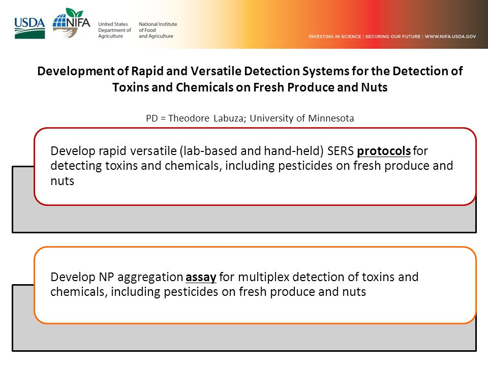 Development of Rapid and Versatile Detection Systems for the Detection of Toxins and Chemicals on Fresh Produce and Nuts PD = Theodore Labuza; University of Minnesota Develop rapid versatile (lab-based and hand-held) SERS protocols for detecting toxins and chemicals, including pesticides on fresh produce and nuts Develop NP aggregation assay for multiplex detection of toxins and chemicals, including pesticides on fresh produce and nuts