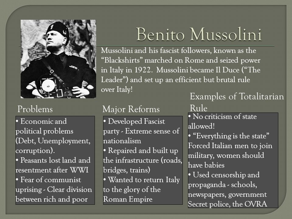 Mussolini and his fascist followers, known as the Blackshirts marched on Rome and seized power in Italy in 1922.