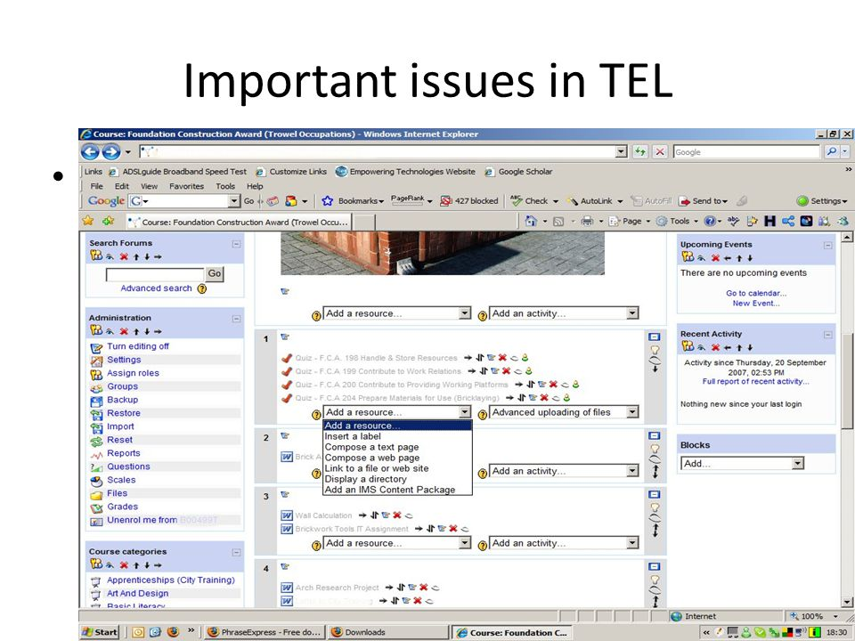 Important issues in TEL Learning Management Systems (LMS) e.g., Moodle