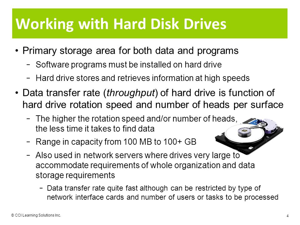 Working with Hard Disk Drives Primary storage area for both data and programs Software programs must be installed on hard drive Hard drive stores and