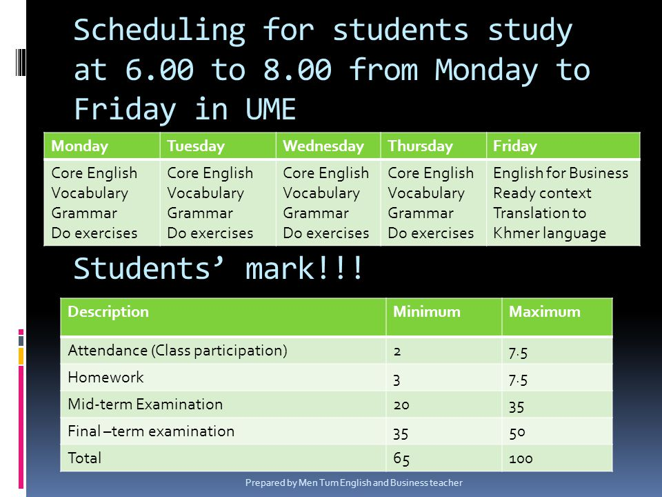 Scheduling for students study at 6.00 to 8.00 from Monday to Friday in UME Students mark!!! MondayTuesdayWednesdayThursdayFriday Core English Vocabula
