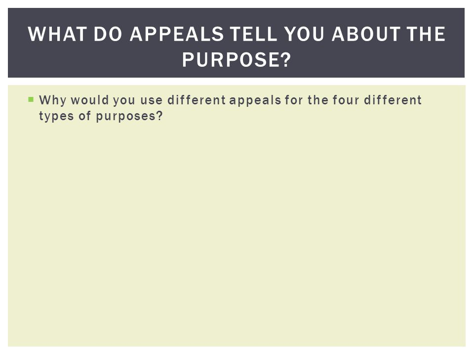 Why would you use different appeals for the four different types of purposes? WHAT DO APPEALS TELL YOU ABOUT THE PURPOSE?
