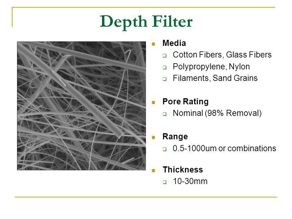 Depth Filter Media Cotton Fibers, Glass Fibers Polypropylene, Nylon Filaments, Sand Grains Pore Rating Nominal (98% Removal) Range 0.5-1000um or combi