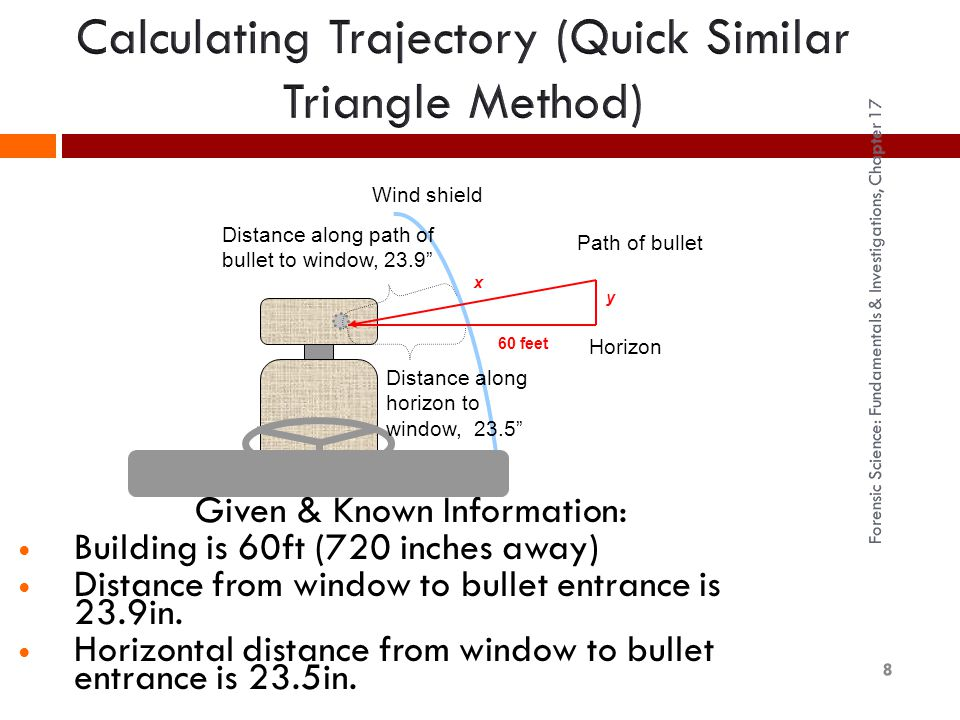 Distance along path of bullet to window, 23.9 Distance along horizon to window, 23.5 Building 720 away.