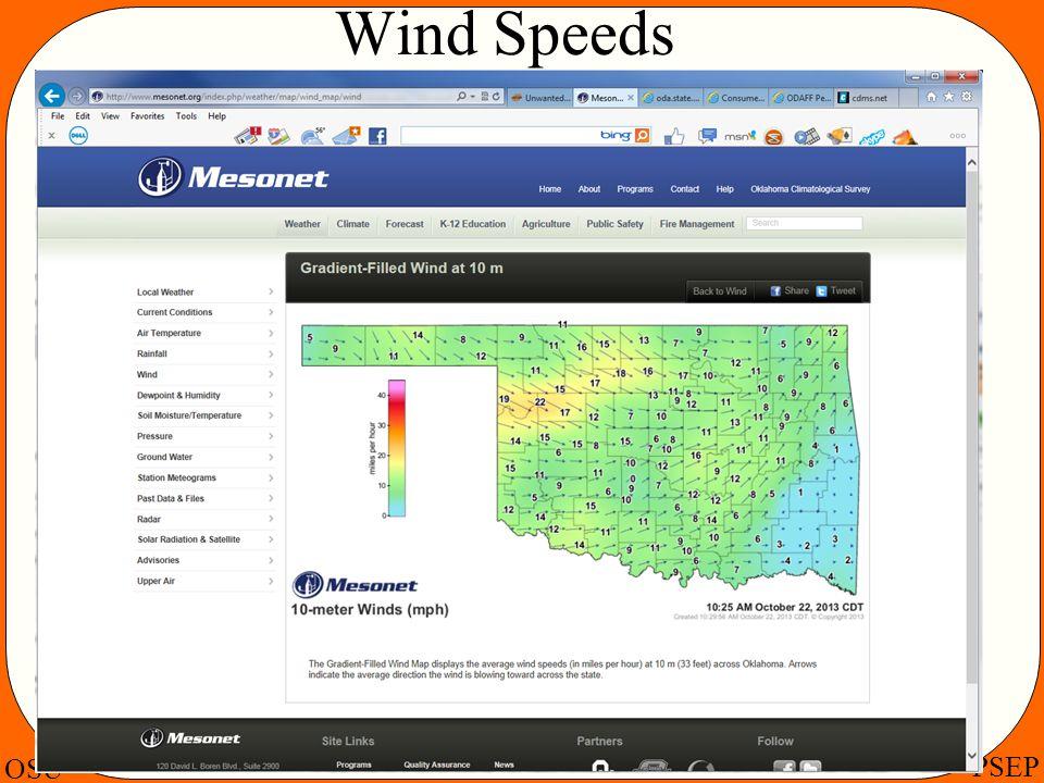 OSU PSEP Wind Speeds