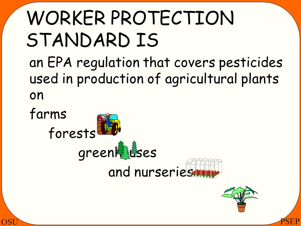 OSU PSEP WORKER PROTECTION STANDARD IS an EPA regulation that covers pesticides used in production of agricultural plants on farms forests greenhouses