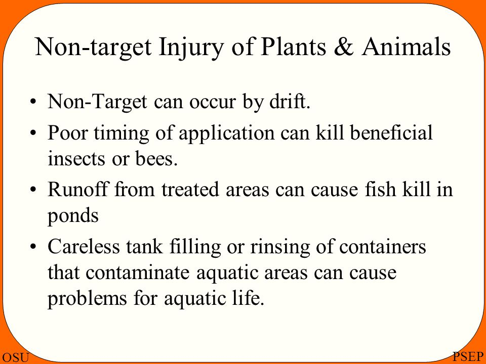 OSU PSEP Non-target Injury of Plants & Animals Non-Target can occur by drift. Poor timing of application can kill beneficial insects or bees. Runoff f