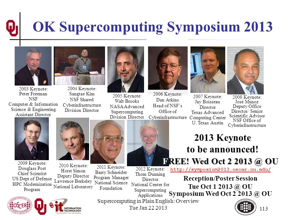 113 OK Supercomputing Symposium 2013 2006 Keynote: Dan Atkins Head of NSFs Office of Cyberinfrastructure 2004 Keynote: Sangtae Kim NSF Shared Cyberinfrastructure Division Director 2003 Keynote: Peter Freeman NSF Computer & Information Science & Engineering Assistant Director 2005 Keynote: Walt Brooks NASA Advanced Supercomputing Division Director 2007 Keynote: Jay Boisseau Director Texas Advanced Computing Center U.