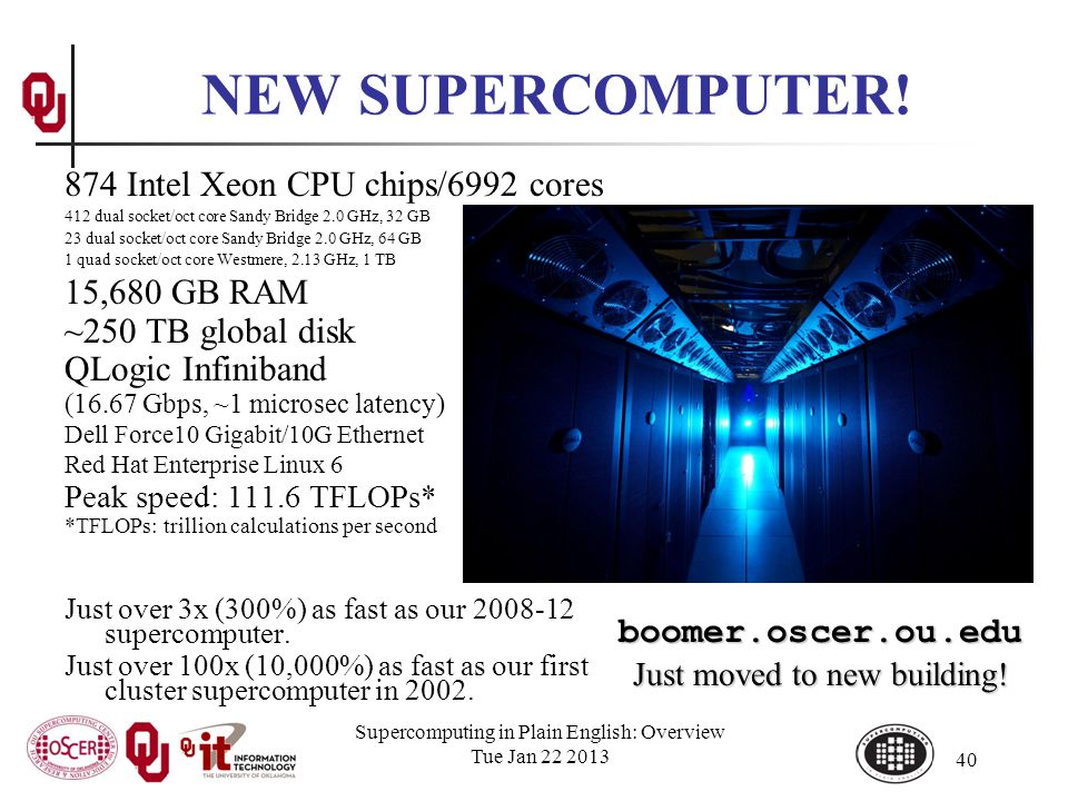 Supercomputing in Plain English: Overview Tue Jan 22 2013 40 874 Intel Xeon CPU chips/6992 cores 412 dual socket/oct core Sandy Bridge 2.0 GHz, 32 GB 23 dual socket/oct core Sandy Bridge 2.0 GHz, 64 GB 1 quad socket/oct core Westmere, 2.13 GHz, 1 TB 15,680 GB RAM ~250 TB global disk QLogic Infiniband (16.67 Gbps, ~1 microsec latency) Dell Force10 Gigabit/10G Ethernet Red Hat Enterprise Linux 6 Peak speed: 111.6 TFLOPs* *TFLOPs: trillion calculations per second Just over 3x (300%) as fast as our 2008-12 supercomputer.