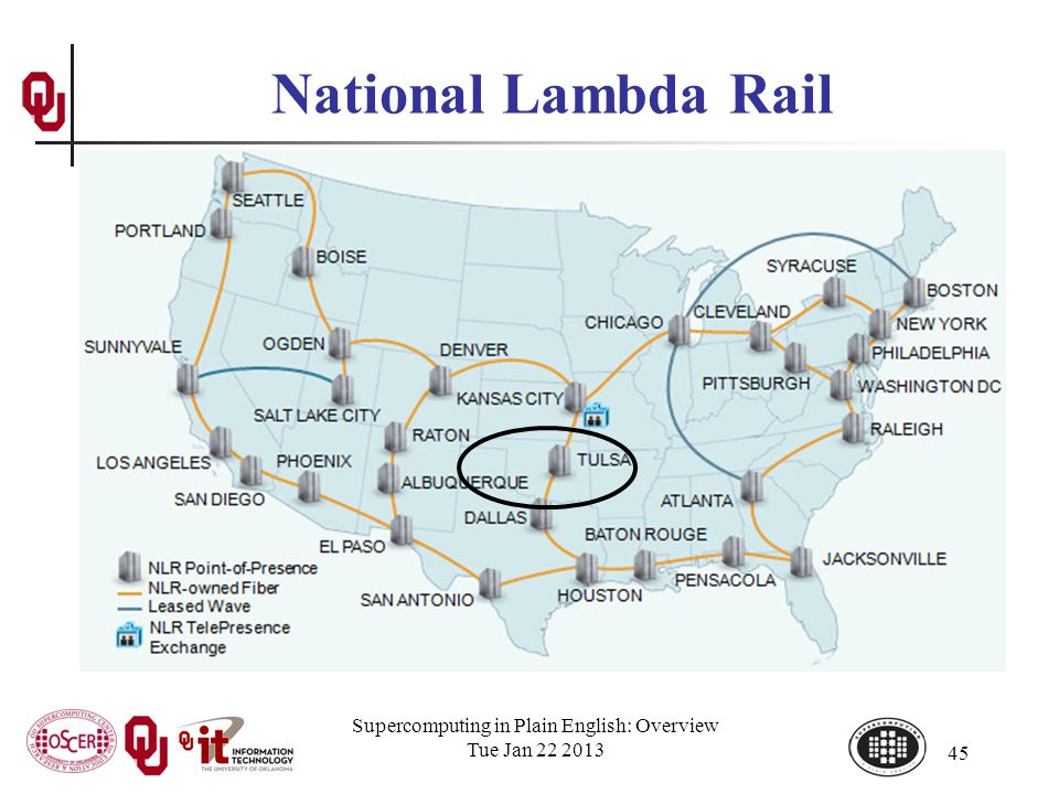 Supercomputing in Plain English: Overview Tue Jan 22 2013 45 National Lambda Rail
