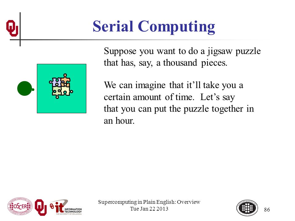 Supercomputing in Plain English: Overview Tue Jan 22 2013 86 Serial Computing Suppose you want to do a jigsaw puzzle that has, say, a thousand pieces.