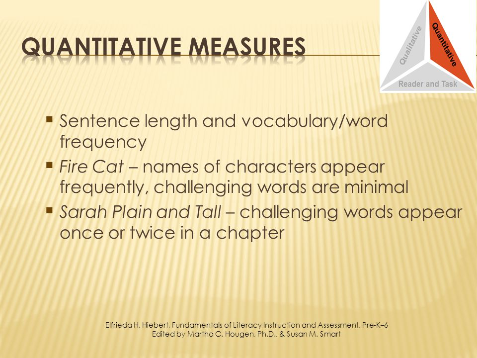 Sentence length and vocabulary/word frequency Fire Cat – names of characters appear frequently, challenging words are minimal Sarah Plain and Tall – challenging words appear once or twice in a chapter Elfrieda H.