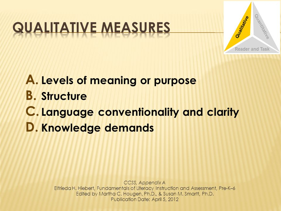 A. Levels of meaning or purpose B. Structure C. Language conventionality and clarity D.