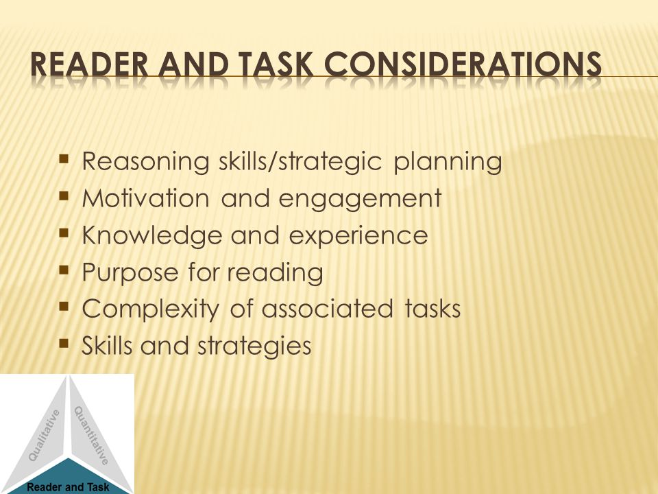 Reasoning skills/strategic planning Motivation and engagement Knowledge and experience Purpose for reading Complexity of associated tasks Skills and s