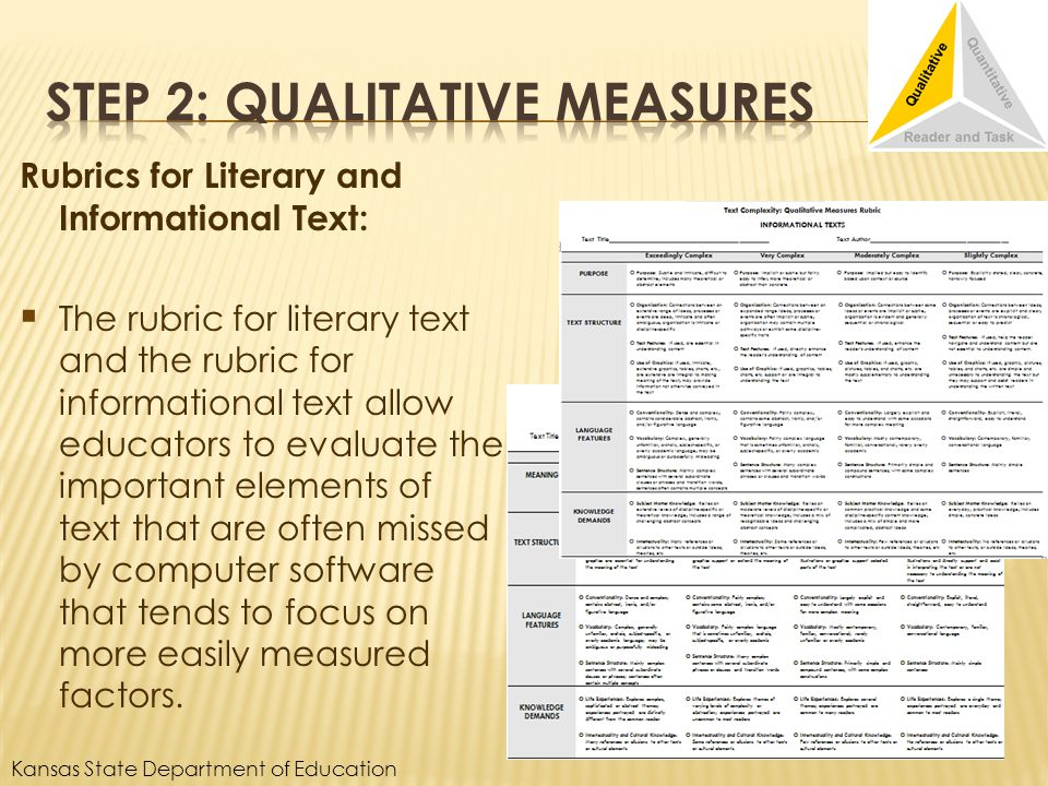 Rubrics for Literary and Informational Text: The rubric for literary text and the rubric for informational text allow educators to evaluate the important elements of text that are often missed by computer software that tends to focus on more easily measured factors.