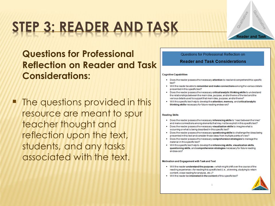 Questions for Professional Reflection on Reader and Task Considerations: The questions provided in this resource are meant to spur teacher thought and