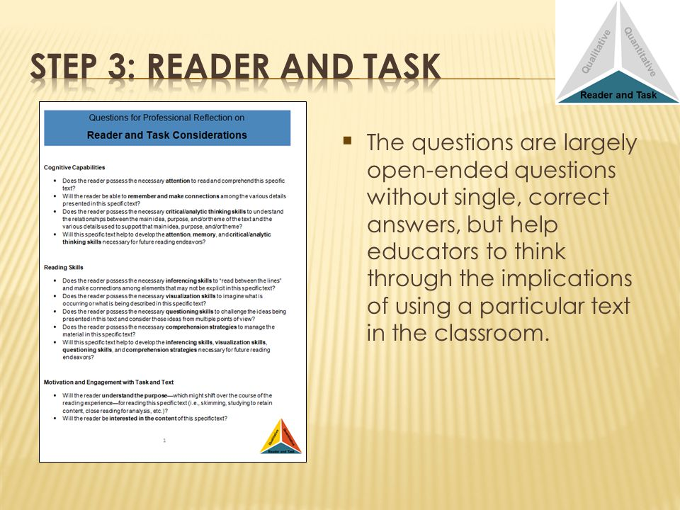 The questions are largely open-ended questions without single, correct answers, but help educators to think through the implications of using a particular text in the classroom.