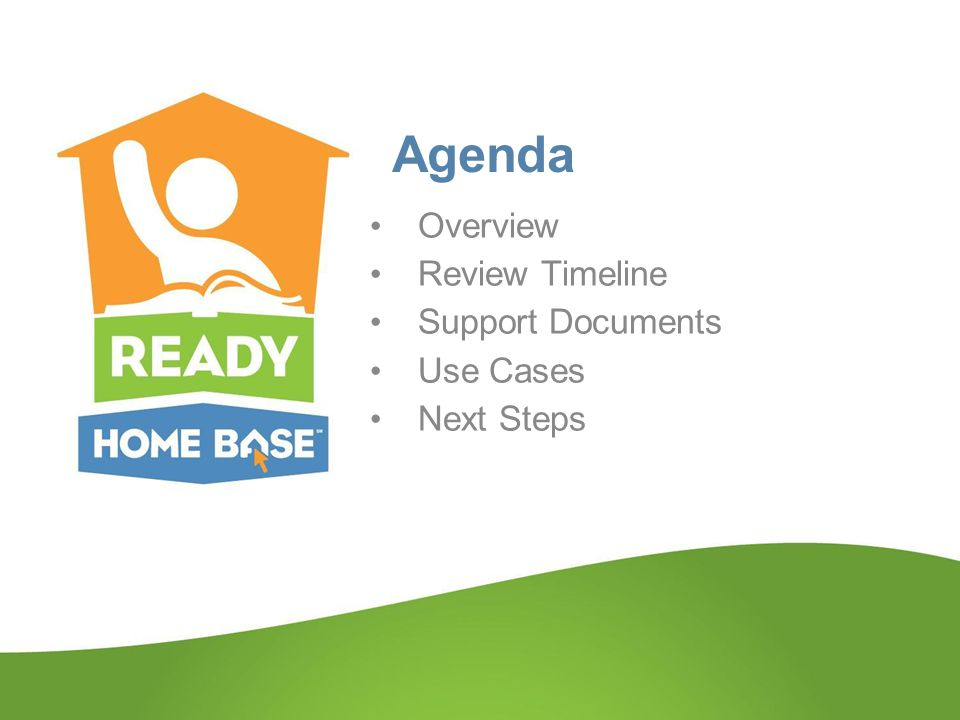 Agenda Overview Review Timeline Support Documents Use Cases Next Steps