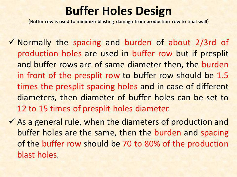 Buffer Holes Design (Buffer row is used to minimize blasting damage from production row to final wall) Normally the spacing and burden of about 2/3rd