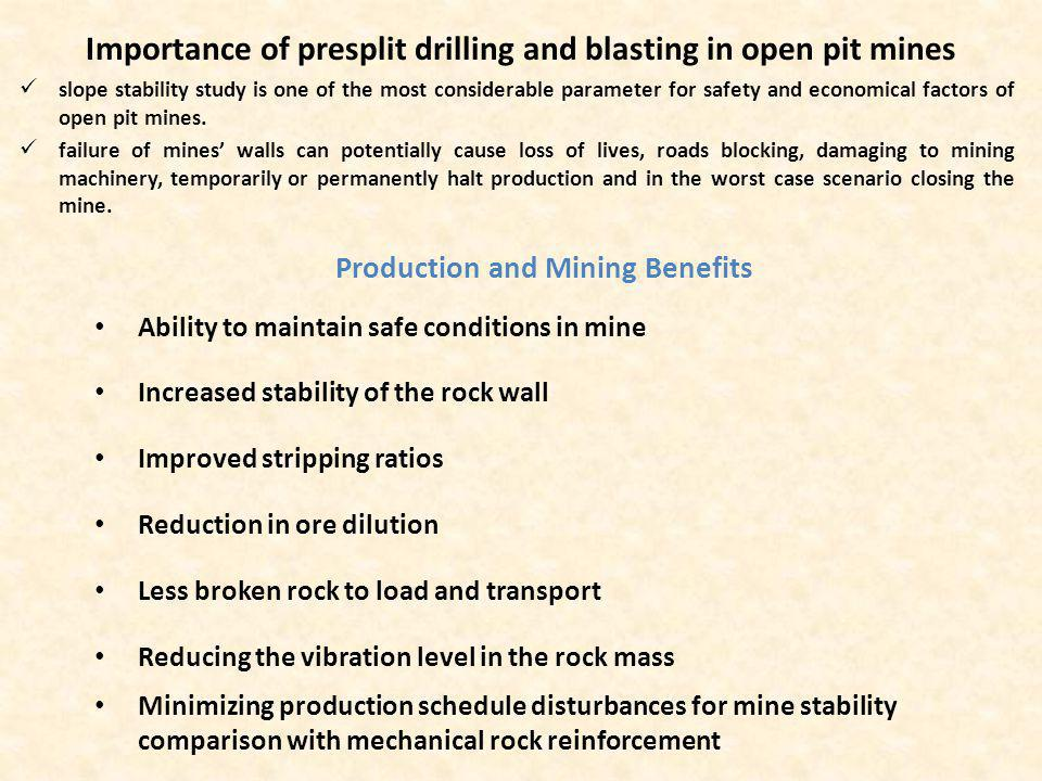 Key Notes Several techniques are used for improvement wall stability in open pit mines which among them, presplit blasting is the most pragmatic and effective approach for tackling this issue in metal open pit mines The influence of geology can never be completely eliminated but certain measures can be taken to ensure acceptable blasting results such as selecting appropriate drill rig to control minimum drilling deviation on presplit row DTH and COPROD drilling systems give less deviation than the other drilling methods thus they could be right choices for presplit drilling Orientation of geological structures has the great influence on the presplit fracture, thus, survey on structural mapping and joint sets is very important to obtain the good final wall in open pit mines Visual evaluation of presplit blasting results and modifying parameters according to mentioned table is crucial to achieve successful results.