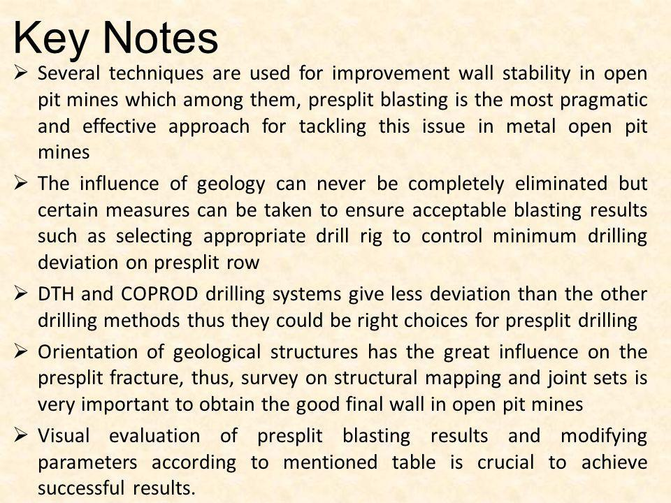 Key Notes Several techniques are used for improvement wall stability in open pit mines which among them, presplit blasting is the most pragmatic and e