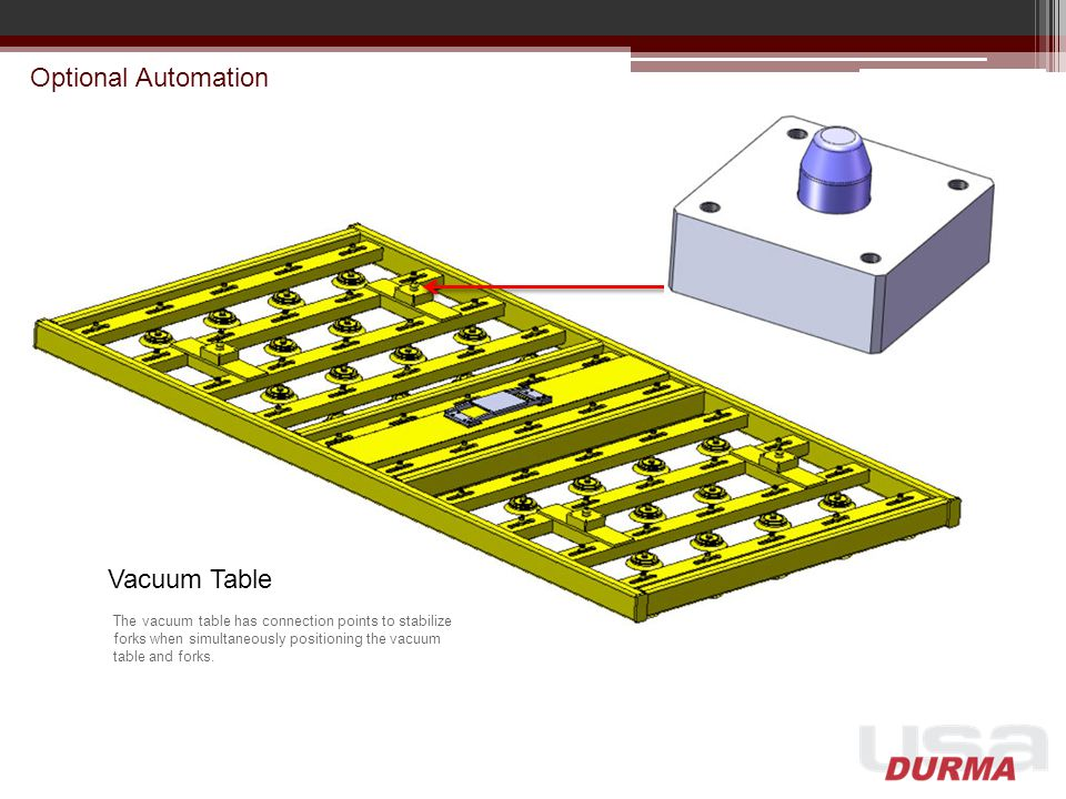 Optional Automation Vacuum Table The vacuum table has connection points to stabilize forks when simultaneously positioning the vacuum table and forks.