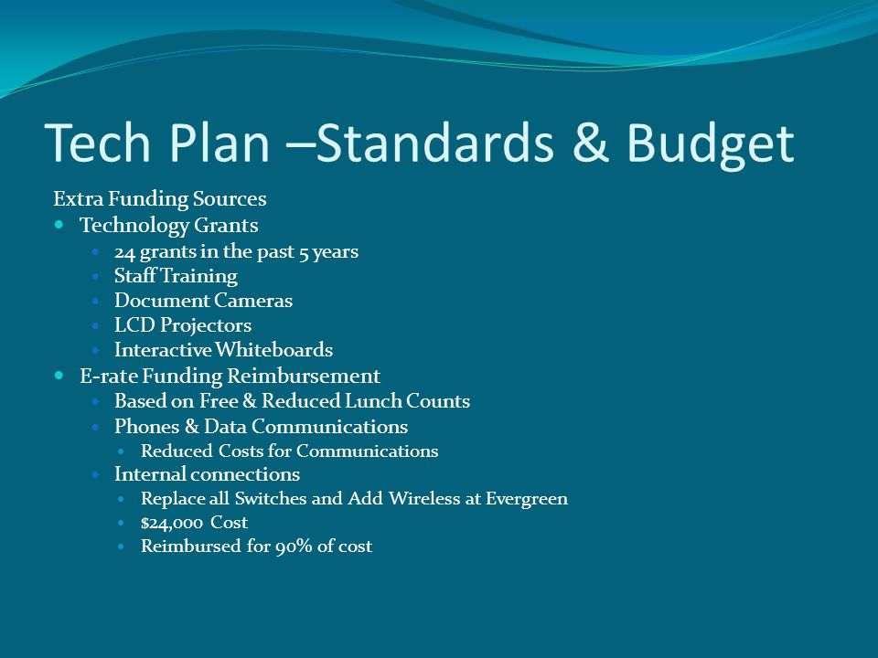 Tech Plan –Standards & Budget Extra Funding Sources Technology Grants 24 grants in the past 5 years Staff Training Document Cameras LCD Projectors Interactive Whiteboards E-rate Funding Reimbursement Based on Free & Reduced Lunch Counts Phones & Data Communications Reduced Costs for Communications Internal connections Replace all Switches and Add Wireless at Evergreen $24,000 Cost Reimbursed for 90% of cost