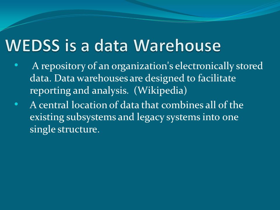 A repository of an organization s electronically stored data.