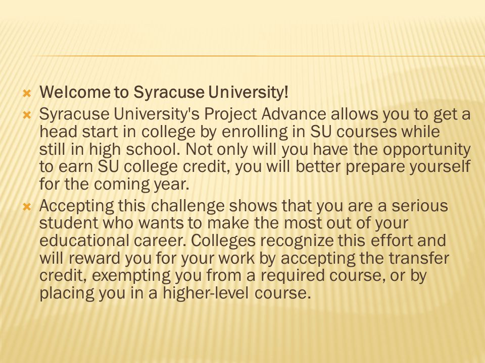 Welcome to Syracuse University.