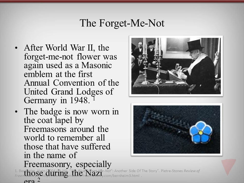 The Forget-Me-Not After World War II, the forget-me-not flower was again used as a Masonic emblem at the first Annual Convention of the United Grand Lodges of Germany in 1948.