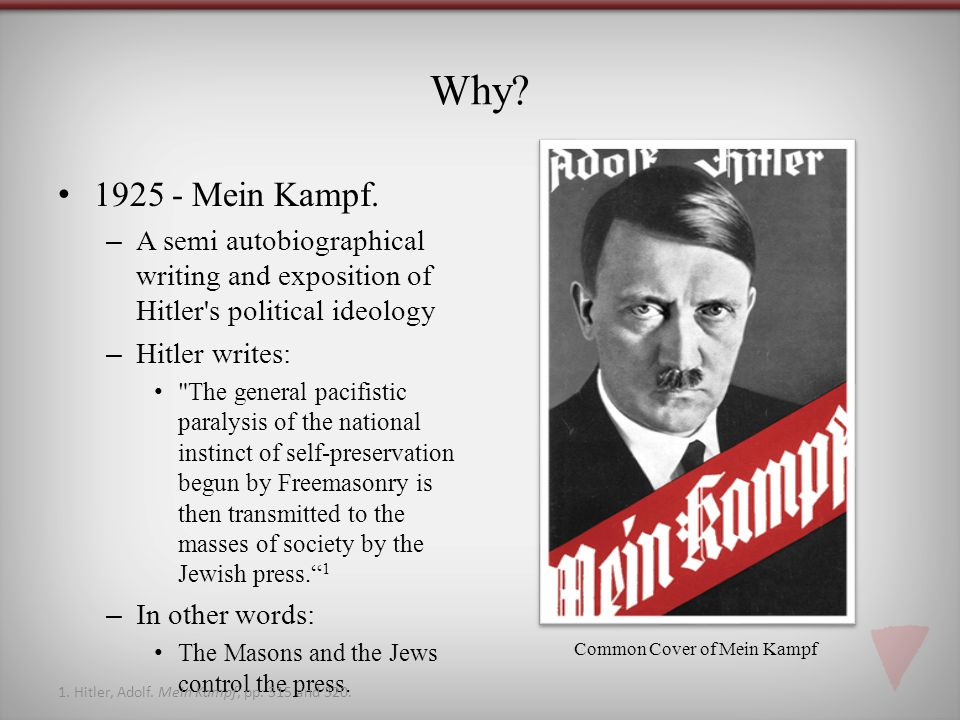 Why? 1925 - Mein Kampf. –A semi autobiographical writing and exposition of Hitler's political ideology –Hitler writes: