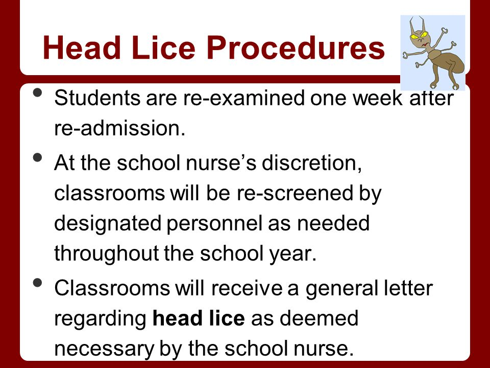 Head Lice Procedures Students are re-examined one week after re-admission. At the school nurses discretion, classrooms will be re-screened by designat