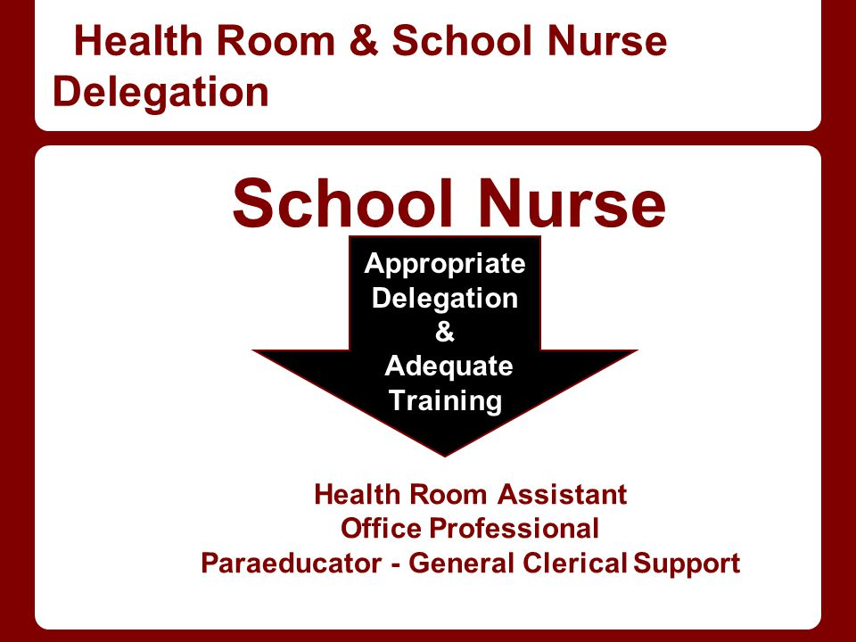 Health Room & School Nurse Delegation School Nurse Health Room Assistant Office Professional Paraeducator - General Clerical Support Appropriate Deleg