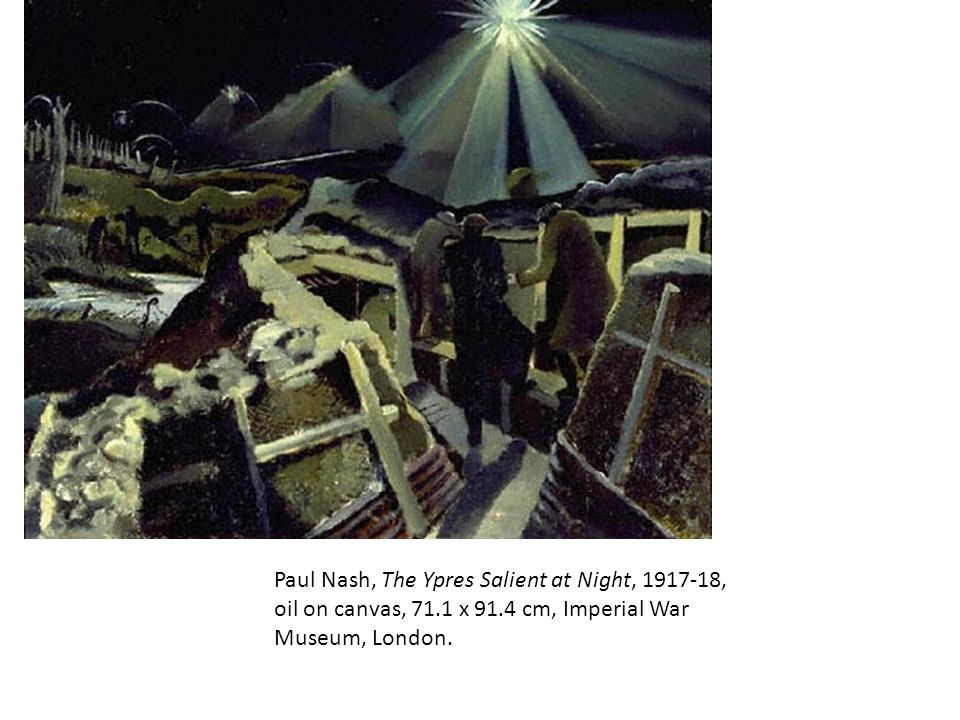 Paul Nash, The Ypres Salient at Night, 1917-18, oil on canvas, 71.1 x 91.4 cm, Imperial War Museum, London.