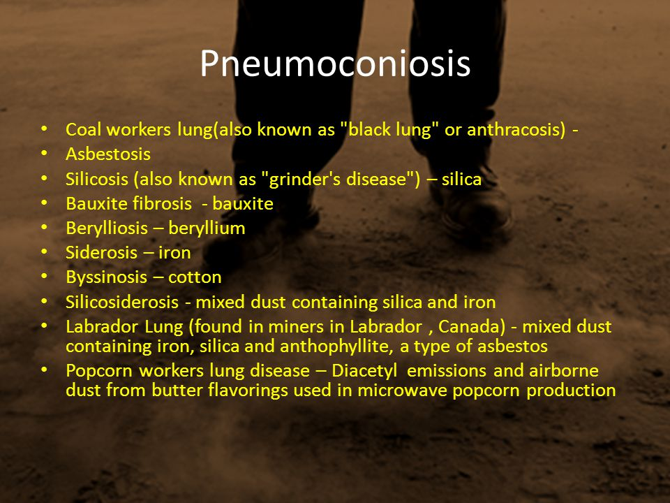 Pneumoconiosis Coal workers lung(also known as