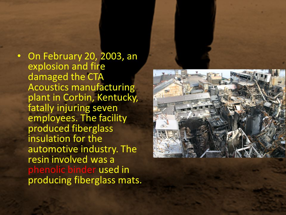 On the evening of October 29, 2003, a series of explosions severely burned three employees, one fatally, and caused property damage to the Hayes Lemmerz manufacturing plant in Huntington, Indiana.