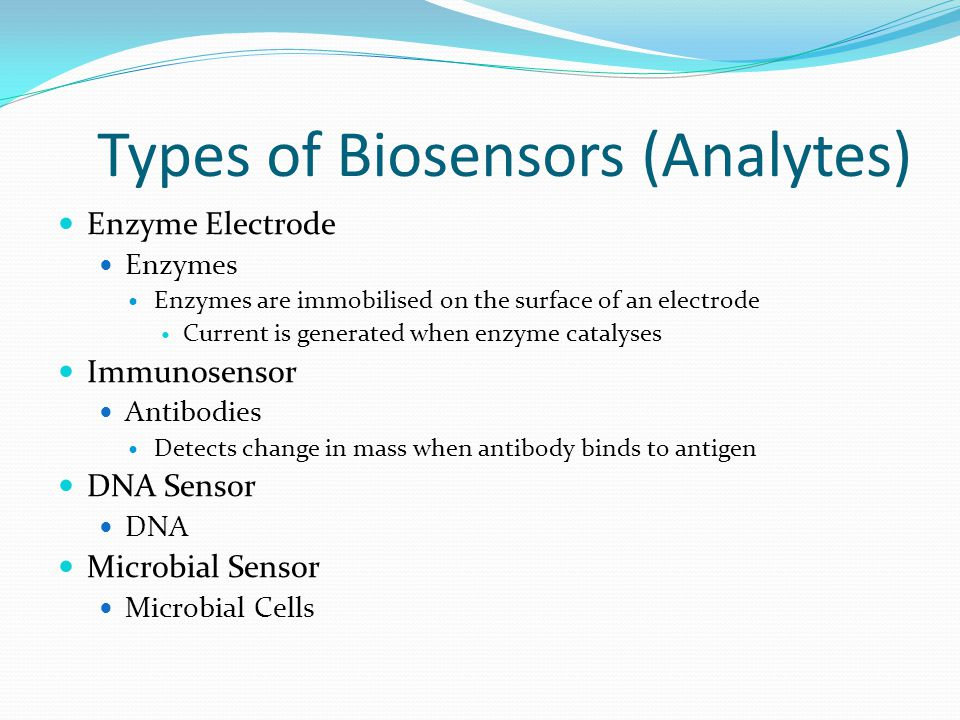 Types of Biosensors (Detection Mode) Electrochemical Potentiometric Amperometric Voltametric Optical Floresence Adsorption Reflection Electrical Surface conductivity Electrolyte conductivity