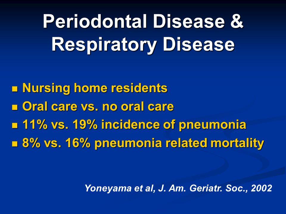 Periodontal Disease & Respiratory Disease Nursing home residents Nursing home residents Oral care vs. no oral care Oral care vs. no oral care 11% vs.