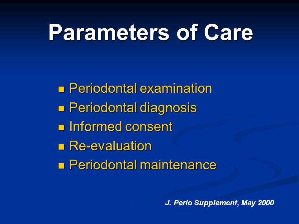 Parameters of Care Periodontal examination Periodontal examination Periodontal diagnosis Periodontal diagnosis Informed consent Informed consent Re-ev