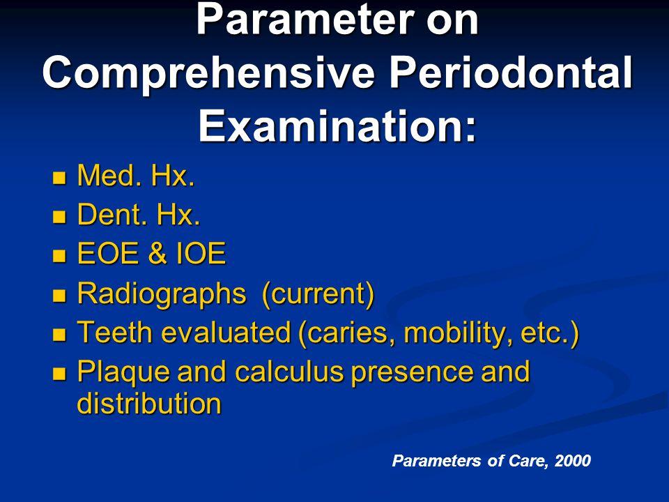 Parameter on Comprehensive Periodontal Examination: Med. Hx. Med. Hx. Dent. Hx. Dent. Hx. EOE & IOE EOE & IOE Radiographs (current) Radiographs (curre