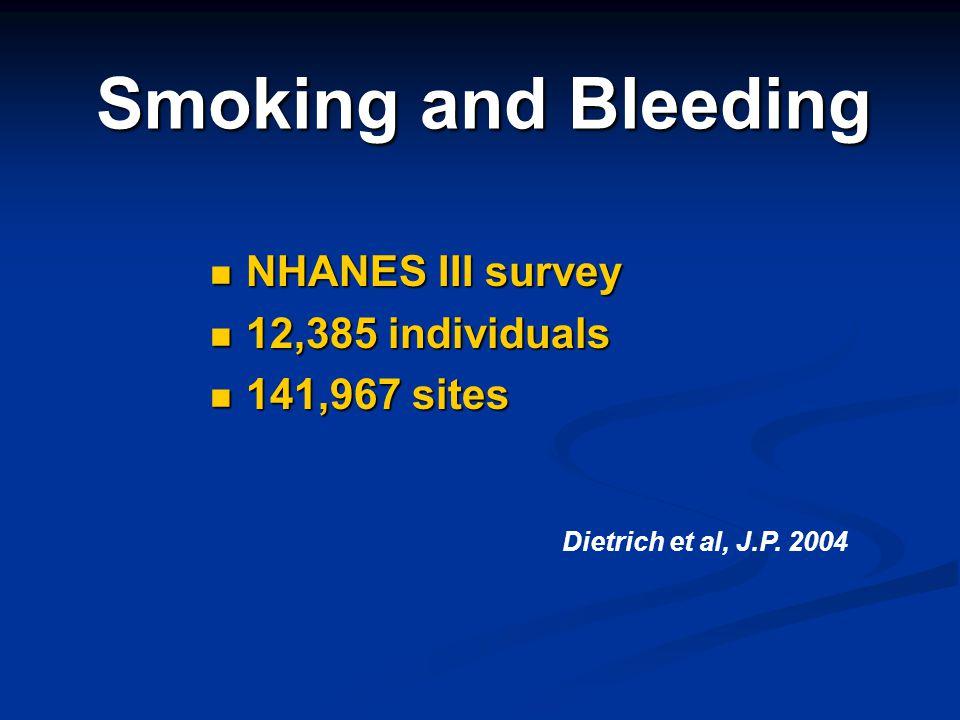 Smoking and Bleeding NHANES III survey NHANES III survey 12,385 individuals 12,385 individuals 141,967 sites 141,967 sites Dietrich et al, J.P. 2004